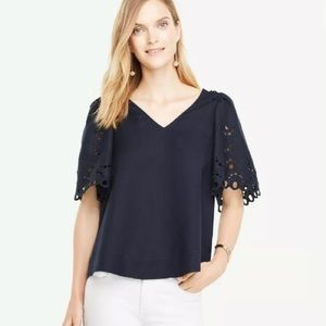 Ann Taylor Embroidered Puff Flutter Sleeve Top XS